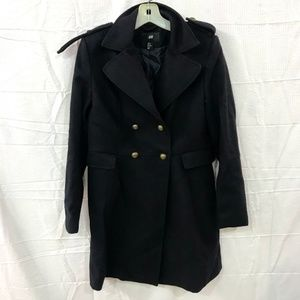 H&M Navy Wool Blend Double Breasted Trench Coat